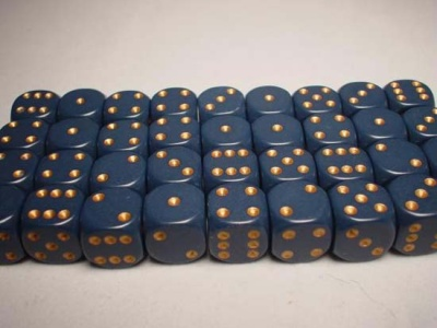 Chessex Dice Sets: Blue/Copper Dusty Opaque 12mm d6 (36)