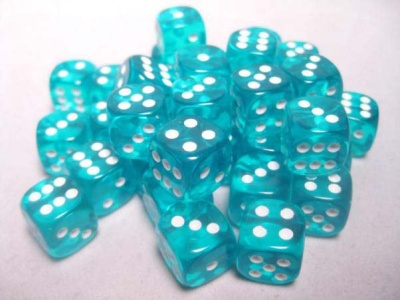 Chessex Dice Sets: Teal/White Translucent 12mm d6 (36)