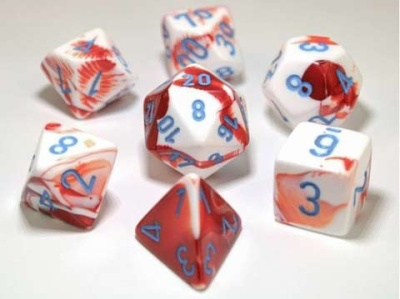 Chessex Polyhedral 7-Dice Sets: Red-White/blue