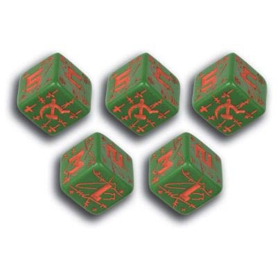 Battle Dice Russian Green & Red (5)