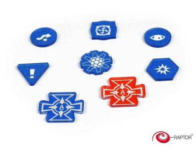 Token and Markers: X-Wing Complete Tokens Set Blue (80)