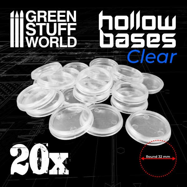 32mm Hollow Plastic Bases - TRANSPARENT (20)