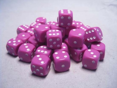 Chessex Dice Sets: Light Purple/White Opaque 12mm d6 (36)
