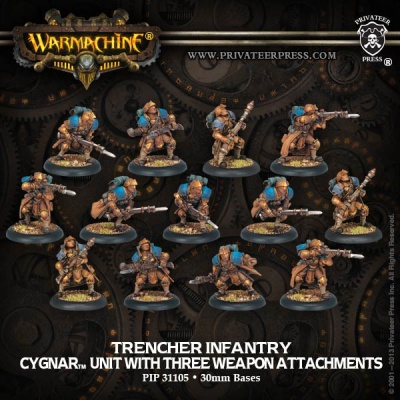Cygnar Trencher Infantry & Attachments Unit Box (13)