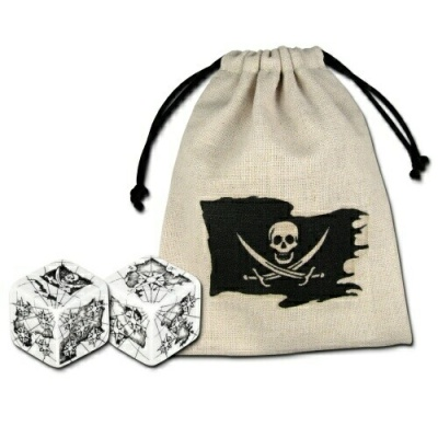 Black & White d6 Pirate Dice + Bag (2)