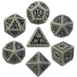 Gray & Black Elvish Dice (7)