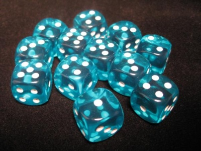 Chessex Dice Sets: Teal/White Translucent 16mm d6 (12)