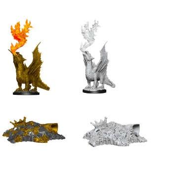 Gold Dragon Wyrmling & Small Treasure Pile (2)