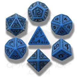 Blue & Black Runic Dice (7)