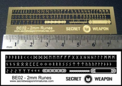 Secret Weapon- Photo Etched Brass: 2mm Runes