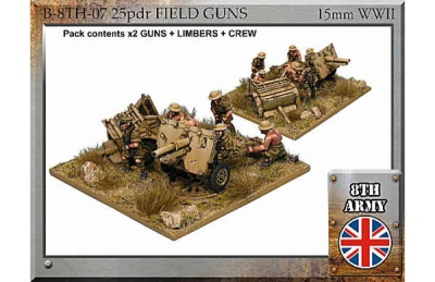 8th Army British 25pdr field gun, limber and crew