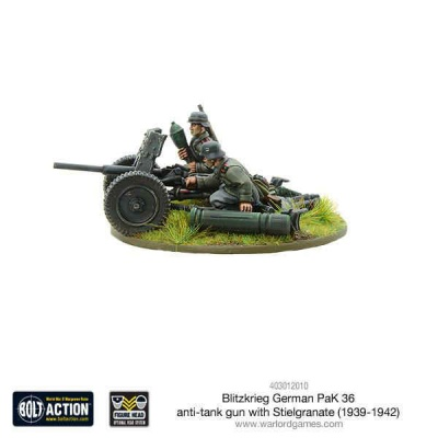 Blitzkrieg German Pak 36 anti-tank gun with stielgranate