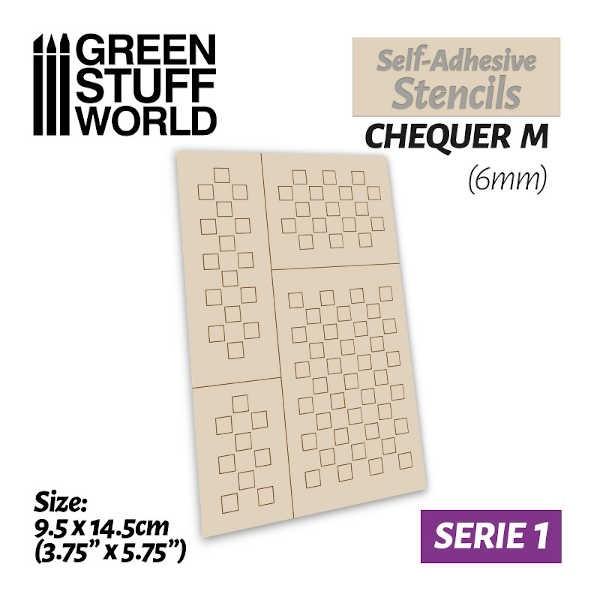 Self-adhesive stencils - CHEQUER M (6mm)