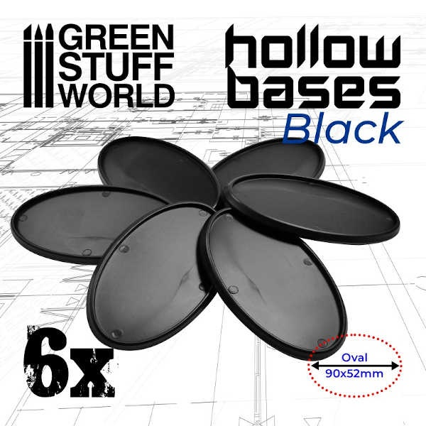Hollow Plastic Bases - BLACK Oval 90x52mm (6)