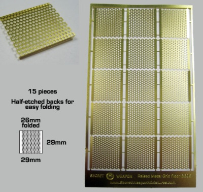 Secret Weapon- Photo Etched Brass: Raised Metal Grid Floorin