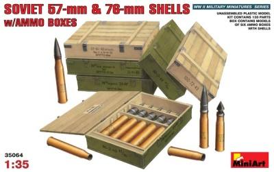 Sowj. 57-mm & 76-mmm Granaten mit Kisten in 1:35