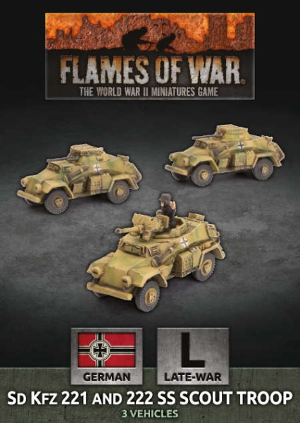 Sd Kfz 221 and 222 SS Scout Troop (x3 Plastic)