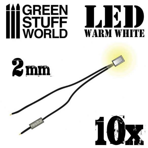 Warm White LED Lights - 2mm (10)
