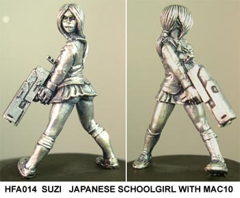 Suzi,  japanese schoolgirl with Mac10