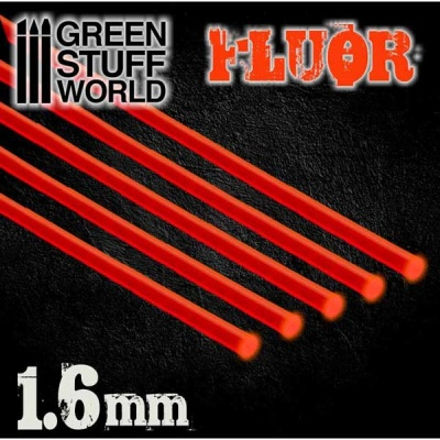 Acrylic Rods - Round 2.4 mm Fluor RED-ORANGE (5)