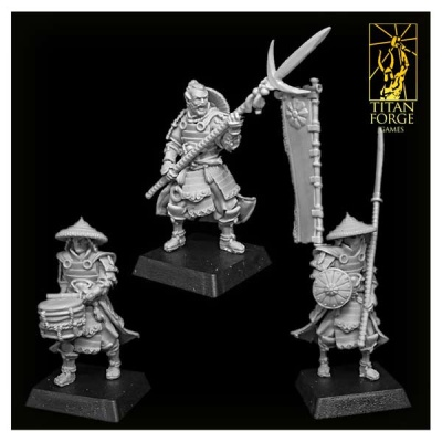 Dragon Empire Ashigaru Spearmen Command Group (3)