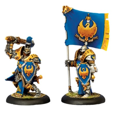 Cygnar Sword Knight Officer & Standard Bearer UA
