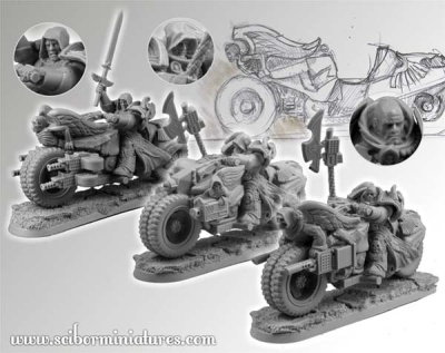 28mm SF Angel Knights Motorcycles set (3)