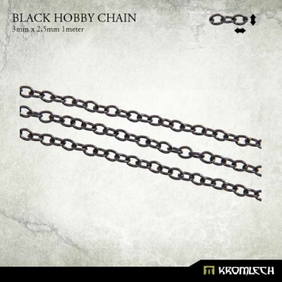 Black Hobby Chain 3mm x 2,5mm (1 meter)