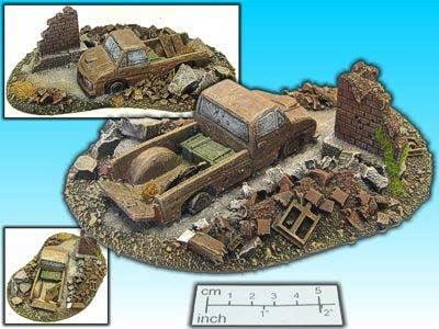 Geländestück Wrack mit Ruine