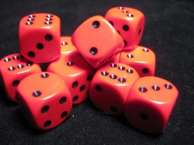 Chessex Dice Sets: Red/Black Opaque 16mm d6 (12)