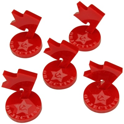 Mini Objective Markers, WWII Russian, Red (5)