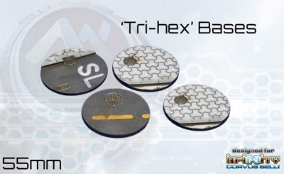 Tri-Hex Bases - 55mm round (4)