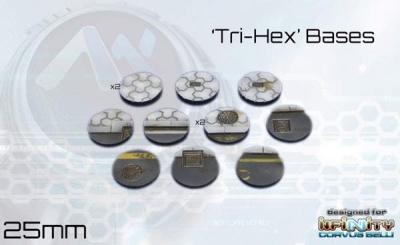 Tri-Hex Bases - 25mm round (12)