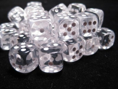 Chessex Dice Sets: Clear/White Translucent 12mm d6 (36)