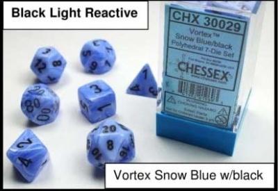 Chessex Polyhedral 7-Dice Sets: Vortex Blue w/black