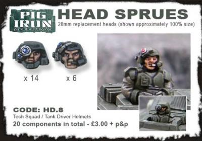 Hvy. Inf. Tank Crew Helmet Sprues (20)