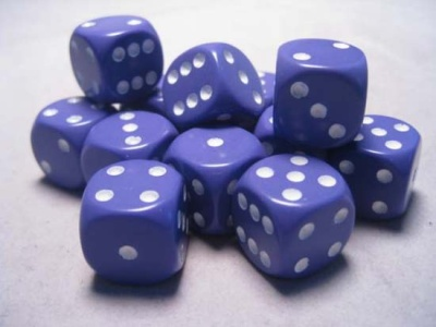 Chessex Dice Sets: Purple/White Opaque 16mm d6 (12)