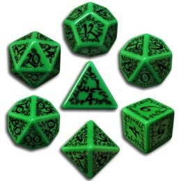 Green & Black Elvish Dice (7)