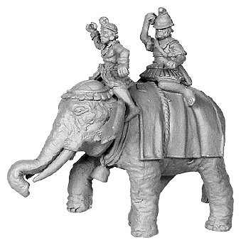 Hellenistic Elephant, with 2 crew, Pike Astride Left