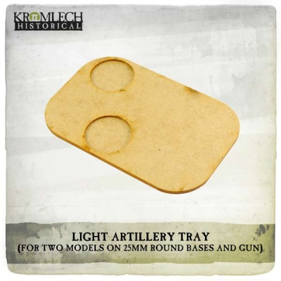 Artillery Tray (two models on 25mm bases and gun) (3)