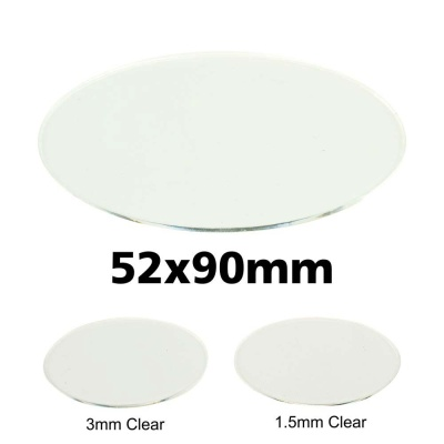 Clear Miniature Base, Oval 52x90x1,5mm
