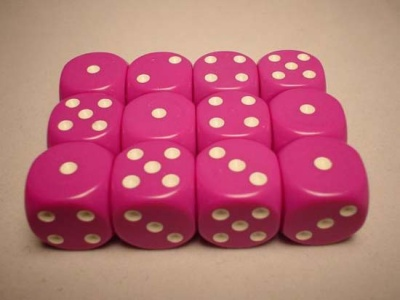 Chessex Dice Sets: Light Purple/White Opaque 16mm d6 (12)
