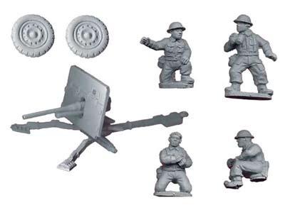Britsh 2pdr AT gun and crew (1 AT gun, 4)