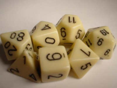 Chessex RPG Dices: Ivory/Black Opaque Polyhedral 7-Die Set