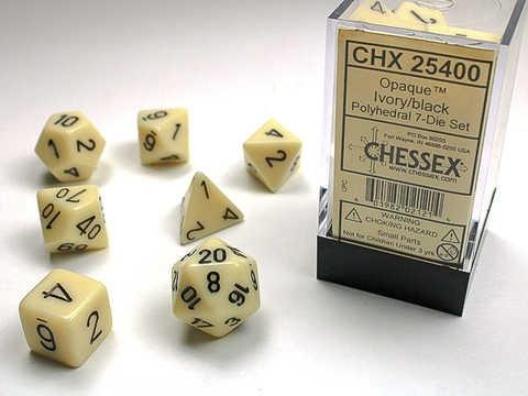 Chessex RPG Dices: Ivory/Black Opaque Polyhedral 7-Die Set