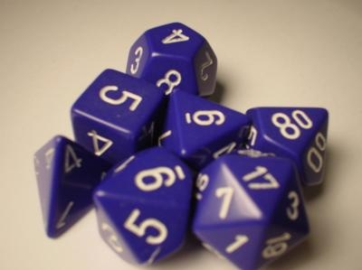 Chessex RPG Dice: Purple/White Opaque Polyhedral 7-Die Set