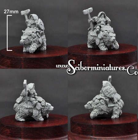 15mm Dwarf Lord on War Bear #2