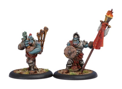 Trollblood Kriel Warrior Standard Bearer & Piper UA