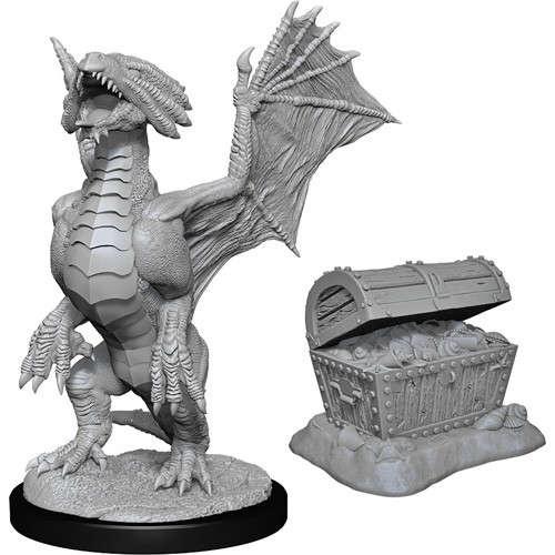 Bronze Dragon Wyrmling & Pile of Sea found Treasure