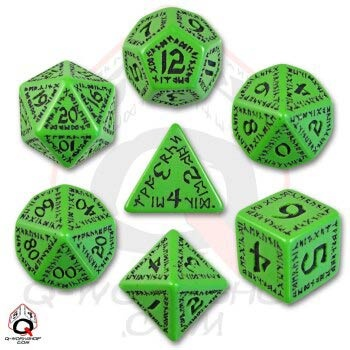 Green & Black Runic Dice (7)
